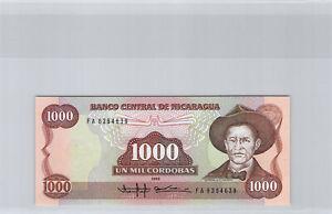 Nicaragua 1000 Cordobas 1985 N° Fa 6364639 Pick 156a