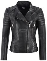 Ladies Black Leather Jacket Classic Biker Style 100% REAL NAPA LEATHER 9393