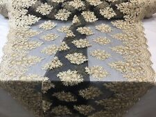 Lace Fabric - Sequins Mesh For Dress Decoration & Bridal Veil Gold By 1 Yard