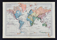 1885 Drioux Map - World Planisphere Physical River Basins Discovery Routes Cook