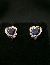 Unique 14k Yellow Gold Blue Sapphire Heart Stud Earring Set. Make Offer! #201