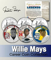 Baseball Legend WILLIE MAYS US Statehood Quarter Colorized 3-Coin Set *Licensed*