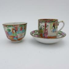 CHINESE CANTON FAMILLE ROSE PORCELAIN TEA BOWL AND CUP AND SAUCER