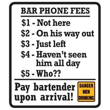 "Bar Phone Tin Sign Garage Novelty 11 x 13"" Ande Rooney"