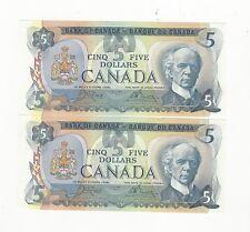 **1979**Canada $5 Note, Crow/Bouey BC-53b, Ser# 30575557109 & 10 Seq. Pair