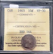 1903 Canada Silver 10 Cents Dime ***ICCS Graded VF-30*** Trends at $215