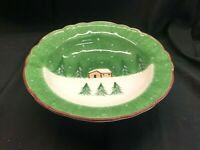 THE CELLAR Log Cabin Christmas Holiday Winter Large Serving Bowl Mint