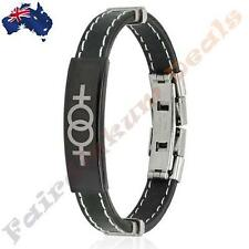 Double Female Symbol ID Plate Stitched Accent Rubber & Stainless Steel Bracelet