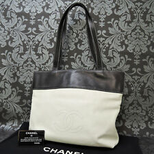 Rise-on Vintage CHANEL Leather White & Black Tote Bag Shoulder Bag #1563 t