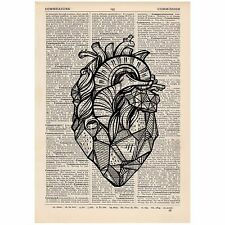 Geometric Heart Dictionary Print OOAK, Alternative, Anatomy, Art,Unique, Gift,