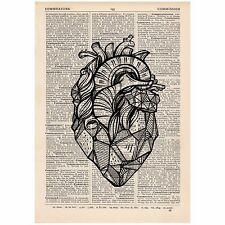 Géométrique Cœur Dictionnaire Imprimer Unique, alternative, Anatomie, Art, Unique, Cadeau,