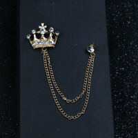 Collar Pin Rhinestone Crown Brooch pin Tassel For Men Accessories Jewelry
