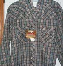 Wrangler Wrancher Men's Pearl Snap  SHIRT Torquoise/Brown XL