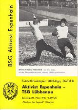DDR-Liga 80/81 ZEPA activista Espenhain-TSG Lübbenau