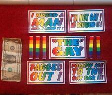 "10 PC GAY Lesbian RAINBOW PRIDE BUMPER STICKERS Joke Revenge Prank 3x5"" Inches"