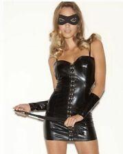 Impresionante Sexy Ann Summers Negro PU PVC S & M Fetiche Vestido Talla Pequeña Reino Unido 8