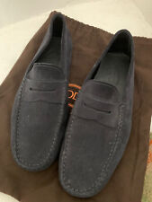 MENS TODS GOMMINO NAVY BLUE SUEDE DRIVING SHOES - 7.5UK/41.5EU