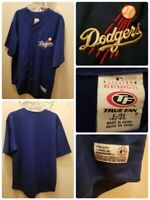 Los Angeles Dodgers Baseball Jersey Size Large MLB Embroidered Blue True Fan EUC
