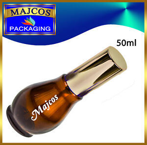 50ml empty Gourd shape Amber Glass Bottles with shiny Silver Atomizer /