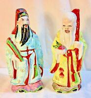"Vintage Chinese Porcelain Feng Shui Fuk & Sau Idols  8 1/2"" Figurine Satsuma"