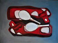 "Original abstract mixed media/oil painting signed by Nalan Laluk: ""Just Rackets"""