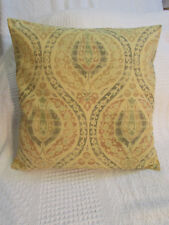 Lovely Cushion Cover, Abstract Floral, Yellow, Green,Terracotta, Gold, Cotton.