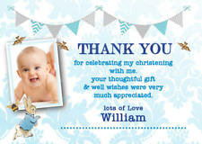 Personalised Thank you cards Peter Rabbit Photo Christening Boy envelopes