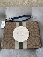 Coach Dempsey Gallery Pouch In Signature Jacquard With Stripe And Coach Patch
