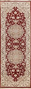 Wool/ Silk Floral Tebriz Chinese Runner Rug Hand-knotted RED/ IVORY 3'x8' Carpet