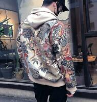 Mens Slim Embroidered Baseball Jacket Printed Loose Bomber Casual Coats Outwear