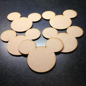 Disney Mickey Mouse Heads x 5 Size 80mm x 100mm. Mdf 3mm Blank Craft
