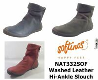 Softinos Ladies NAT332SOF Soft Washed Leather Hi Ankle Slouch Boots