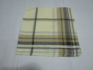 """USED CHAP IVORY WITH YELLOW SOLID COTTON 18"""" HANDKERCHIEF POCKET SQUARE MEN TYPE"""