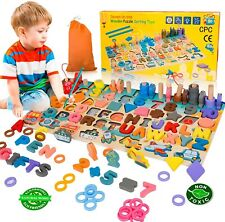 Wood Letter Number Puzzle Sorting Montessori Fishing Game Toys For Toddlers Kids