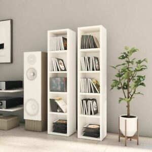 2 Pcs CD Cabinet White Open Shelf Display Rack Tower DVD Media Storage Organizer