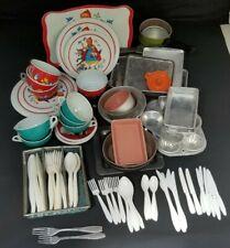 Vintage Tin Dishes - Red Riding Hood Set, Baking Pans, Flatware - Large Lot