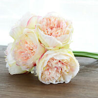 5 Heads gift Fake Peony Silk Flower Bridal Bouquet wedding Party Home Decor lady