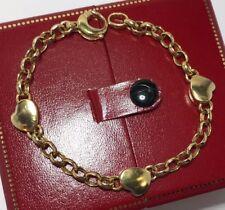 "Vintage 14k Yellow Gold Heart Rolo Charm Link Estate Love Women's Bracelet 7.25"""