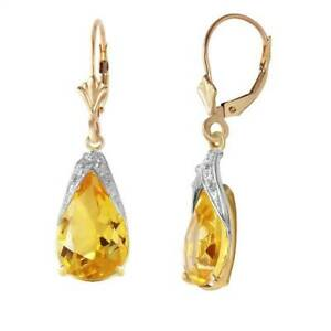 Natural Citrine 10 ctw Pear Cut Gems Leverback Dangle Earrings in 14K Solid Gold