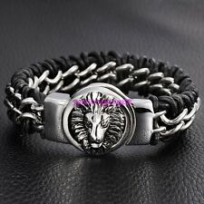 Mens Genuine Leather Braided Wristband Bracelet Stainless Steel Lion Clasp Hot