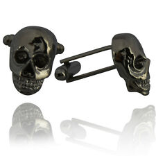 Mens Pirate Skull Skeleton Cufflinks -Black Grey- Fancy Wedding Cuffs Novelty