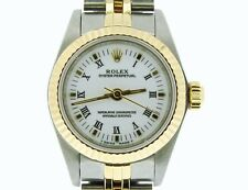 Ladies Rolex 18k Gold/Stainless Steel No-Date Oyster Perpetual White Roman 67193