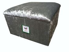 """Large Size 20"""" x 20"""" In Shimmer Silver Crushed Velvet  Pouffes / Storage Box"""