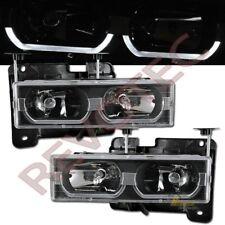 88-99 GMC Chevy Suburban Tahoe CK C10 Yukon i8 Style Black Headlights RH + LH