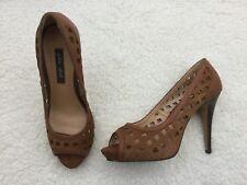 Damas De Salón Zapatos de Taco Alto tribunal de cuero punta abierta zapatos talla 6. nuevo y en caja. Pilar Abril.