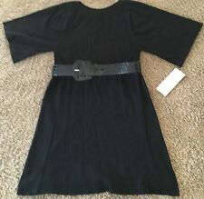 Black, soft knit DRESS with BELT - Misses Size L - NEW WITH TAGS (Retail $79)
