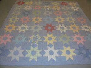 Nice Multi-Color Exploding Stars & Blocks Quilt