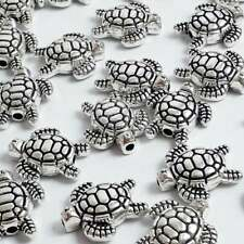 10pcs Turtle Metal Spacer Beads Antique Silver 13x12mm Craft Supplies - B0107836