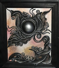 Hand made abstract leather/oil collage wall decor plaque signed