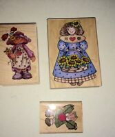 Lot of 3 Wood Mounted Rubber Stamps Crafts - Primitive Hero Arts Plus
